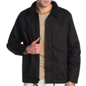 Hurley Jacket Faux Shearling Lined Military Black